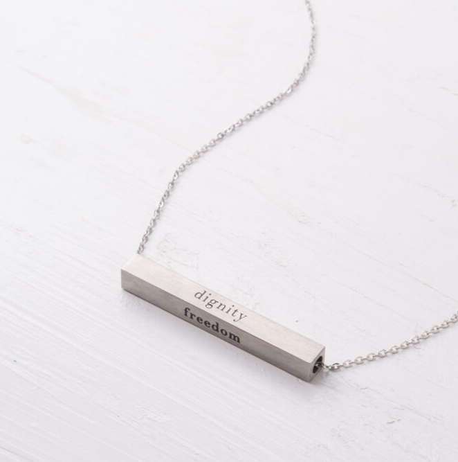 Dignity Freedom Bar Necklace (Silver or Gold), Create careers for exploited girls & women!