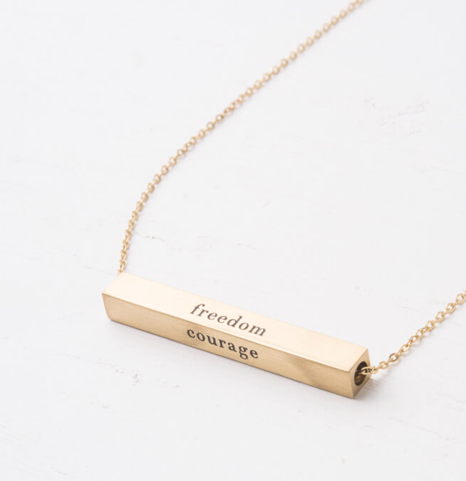 Gold Dignity Freedom Bar Necklace, Create careers for exploited girls & women!