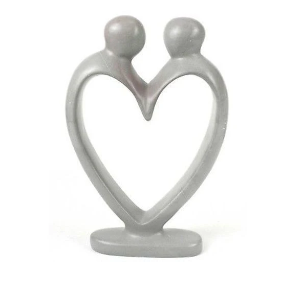 Handcrafted Soapstone Lovers Heart Sculpture in Gray,  Black or Red - Fair Trade, eco-friendly