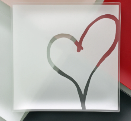 "13"" Recycled Etched Glass Heart Plates-  10% goes to help Habitat For Humanity!"