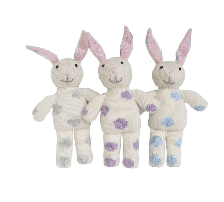 Hand Knit Easter Bunny Stuffed Animal for  Baby and Kids - Support Fair Trade!