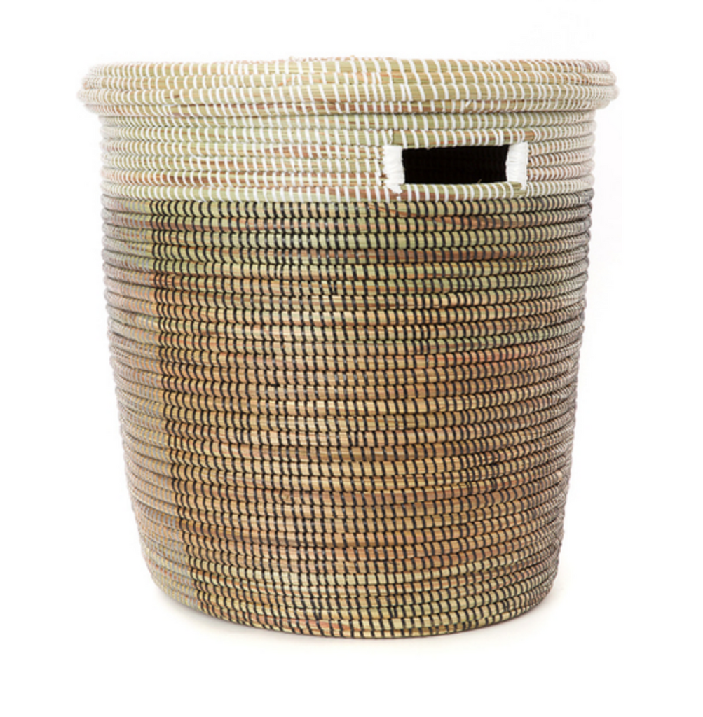 Brown, Silver and White Handwoven Cattail  Flat Lid Storage Basket, Fair Trade