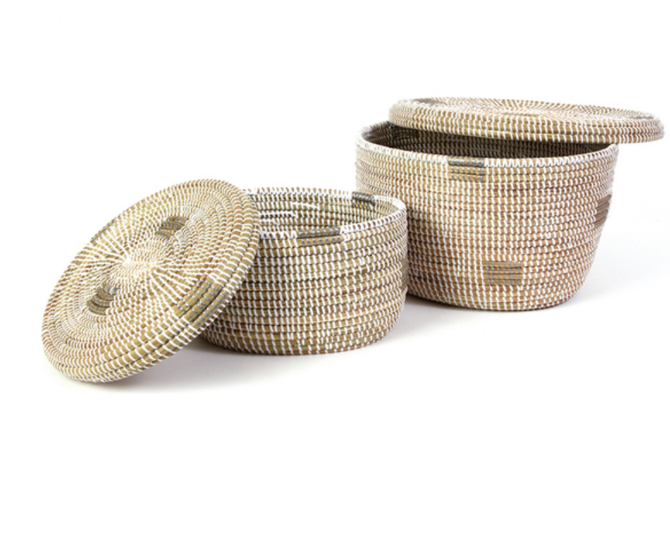 2 White Oval Pixel Handwoven African Cattail Decorative Storage Basket, Fair Trade