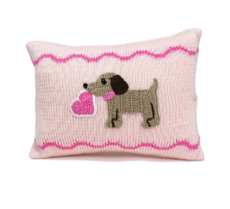 Grey or Pink Mini Puppy Pillow with Valentine's Heart, Handmade, Fair Trade