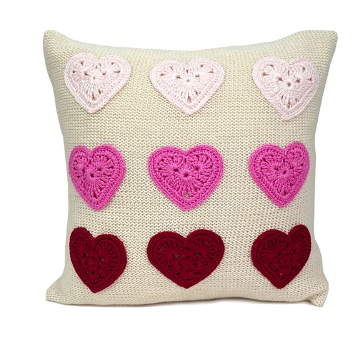 "10"" Heart Valentine Pillow, Handmade, Fair Trade"