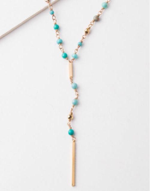 Turquoise & Gold Drop Necklace, Give freedom & create careers for exploited women!