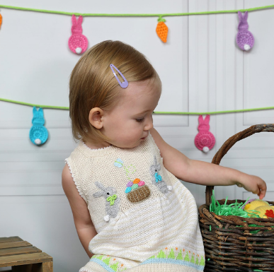 Hand Knit Baby / Toddler Easter Dress With Bunnies, Fair Trade