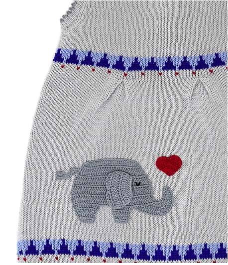 Hand Knit Baby / Toddler Dress With an Elephant and heart, Fair Trade