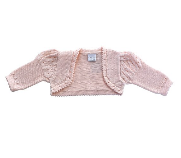 Hand Knit Baby / Toddler Pink Bolero Cardigan, Fair Trade