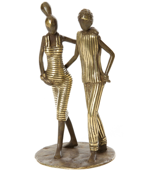 Couple, Pregnant Woman & Man Walking Bronze Sculpture  - Fair Trade, Educates Artisans- Eco-Friendly