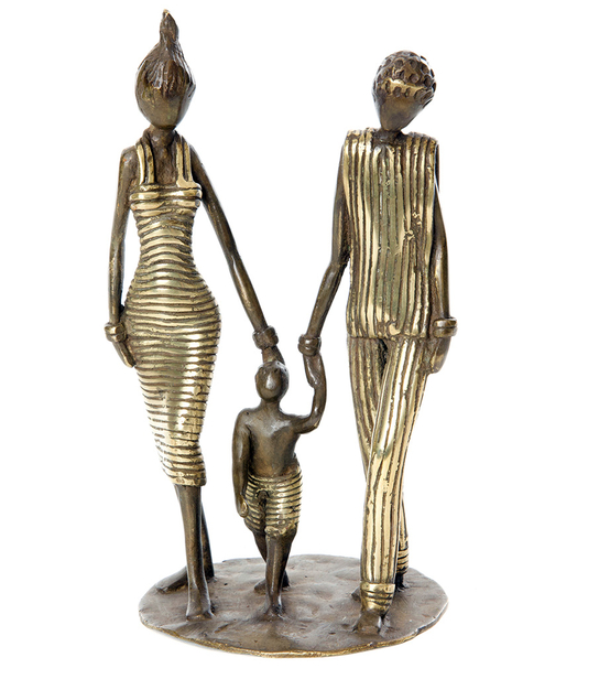 Family with Child Bronze Sculpture, Fair Trade, Educates Artisans- Eco-Friendly