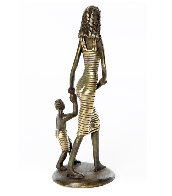 Mother with Child Bronze Sculpture, Fair Trade, Educates Artisans- Eco-Friendly