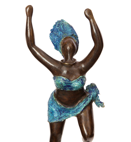 Dancing African Woman Bronze Sculpture, Fair Trade, Educates Artisans- Eco-Friendly
