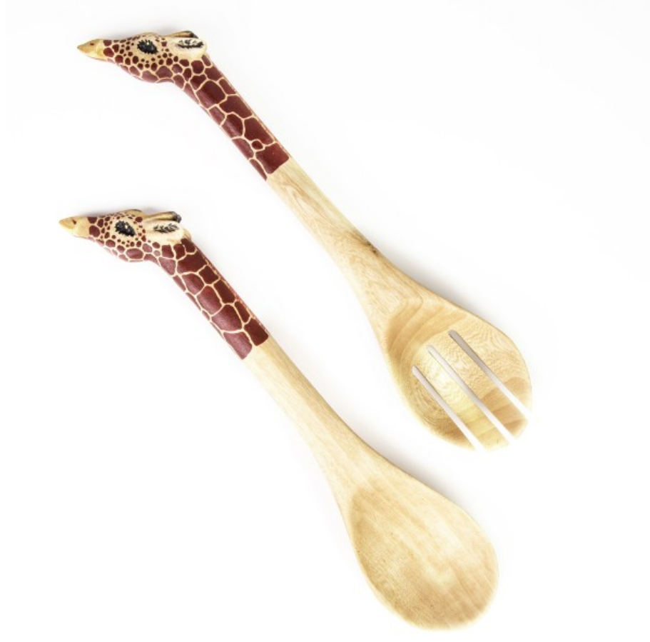 Hand Carved Wooden Giraffe Salad Servers- Fair Trade