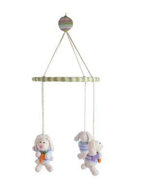 Bunny Rabbit Nursery Mobile, Handmade, Fair Trade