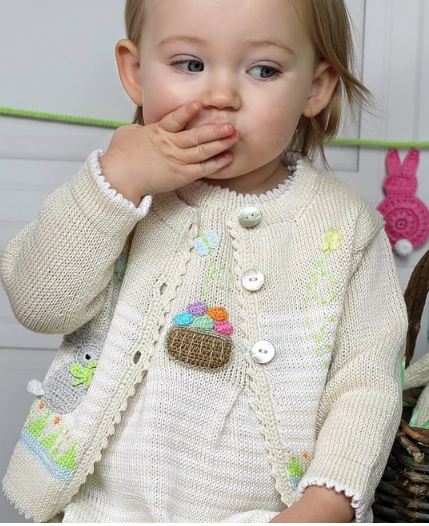 Handmade Knit Baby/ Toddler Easter Bunny Cardigan, Fair Trade