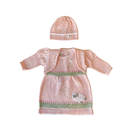 Hand Knit Pink Easter Dress With a Baby Lamb, Fair Trade