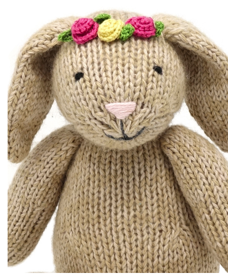 Hand Knit Sitting Brown Easter Bunny Stuffed animal - Support Fair Trade for Artisans