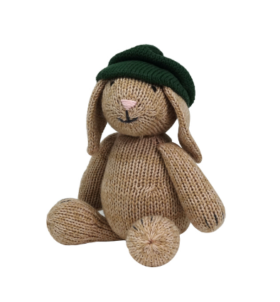 Hand Knit Sitting Brown Easter Bunny with Beret Stuffed animal - Support Fair Trade for Artisans