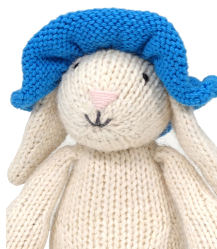 Hand Knit White Easter Bunny with Blue Sun Hat Stuffed animal, Fair Trade