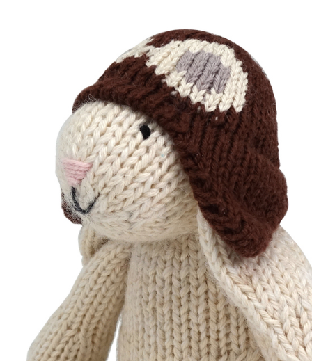 Hand Knit White Easter Bunny with Brown Hat Stuffed animal, Fair Trade