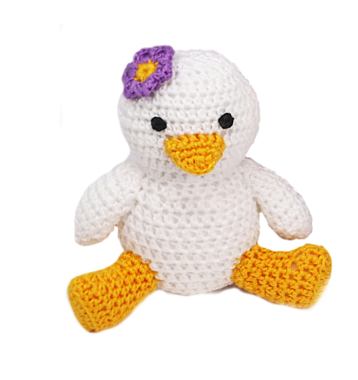 Small Hand Crocheted Stuffed Animal  Duck- Boy or Girl- Support Fair Trade Artisans