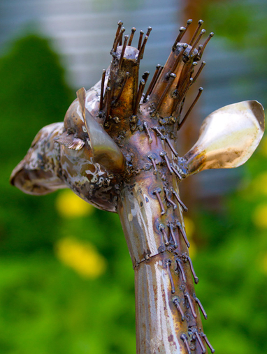 Large Recycled Metal OutdoorGiraffe Sculptures, Fair Trade from Kenya