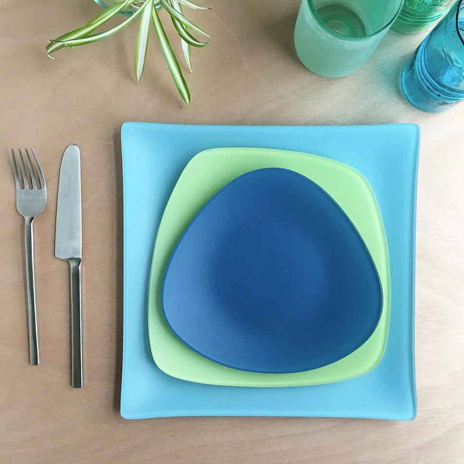 Sea Glass Dishes Place setting- 3 pieces, Recycled Glass, Made in USA, Lead and Cadmium Free- Eco-Friendly