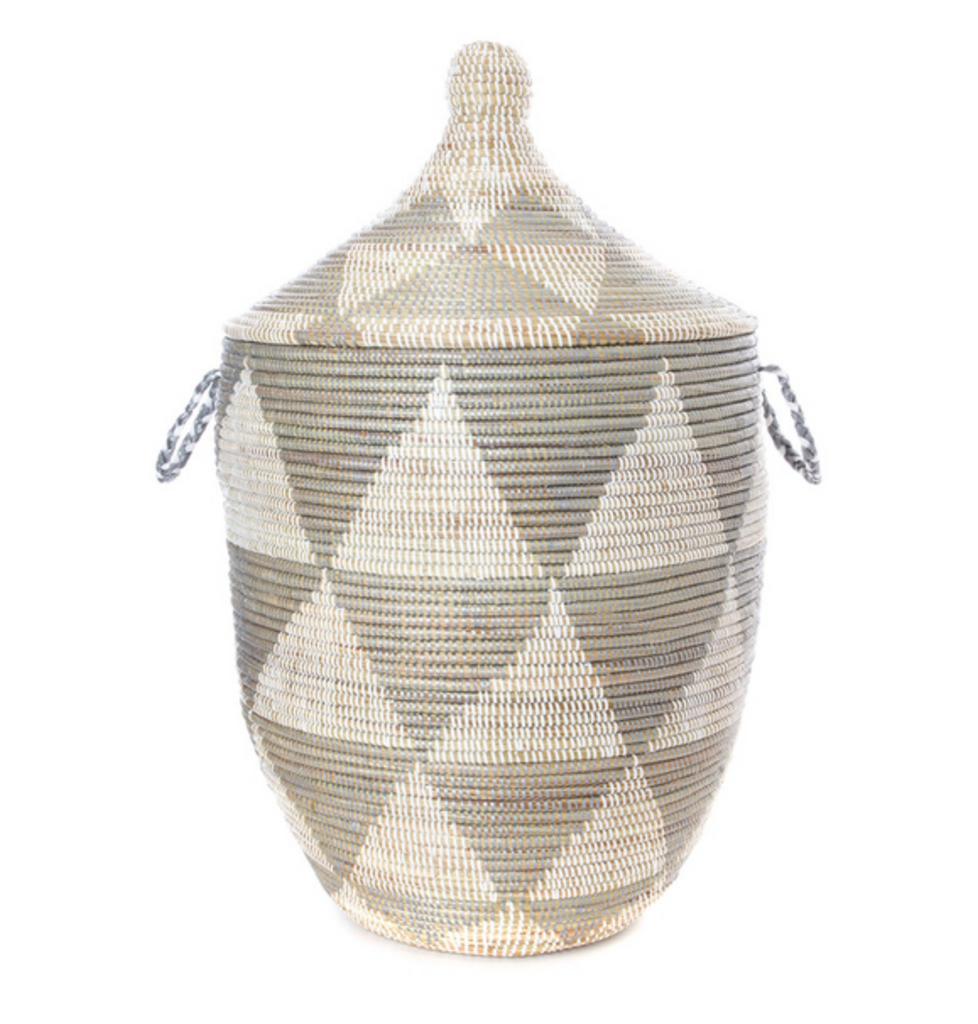 Silver Diamond Storage Basket, Fair Trade- Eco-Friendly