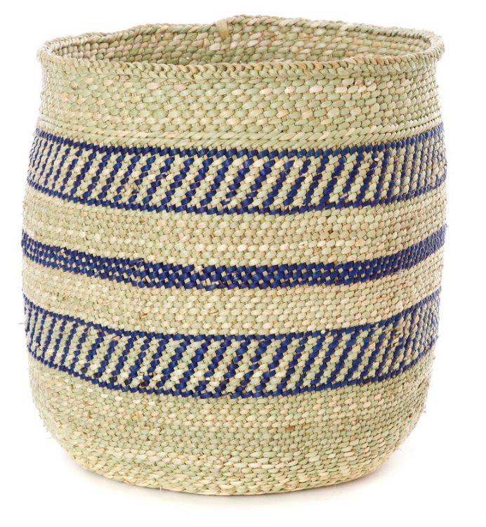 Handwoven Grass Storage Baskets, Blue Accents, Fair Trade from Tanzania