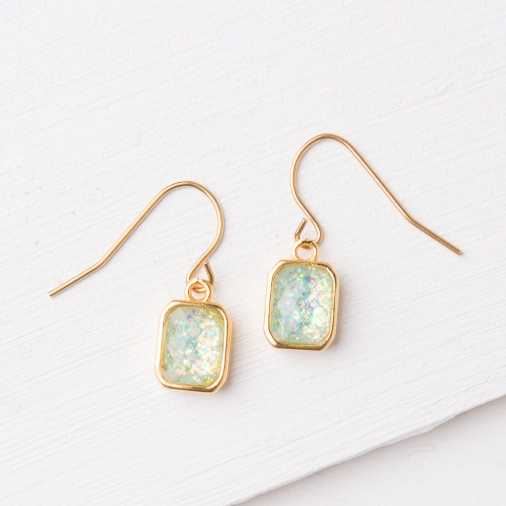 Sky Blue Opal & Gold Earrings- Give Freedom to Women & Girls!