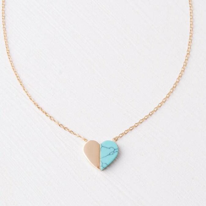 Turquoise & Gold Heart Pendant Necklace- Gives Freedom to Women