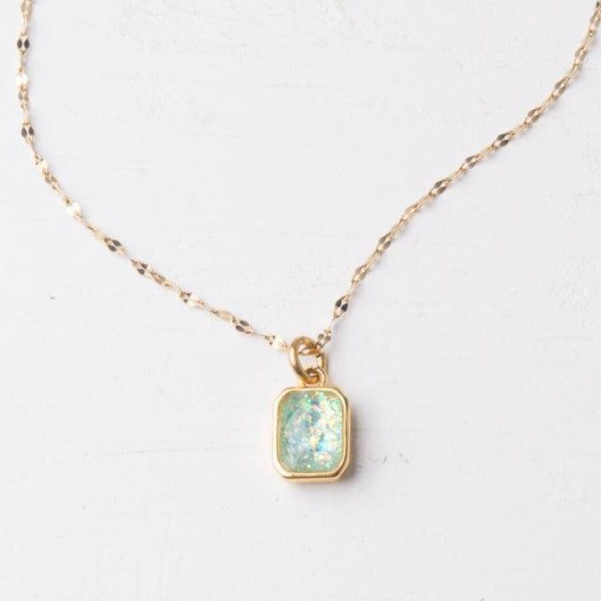 Sky Blue Opal & Gold Necklace- Give Freedom To Girls & Women