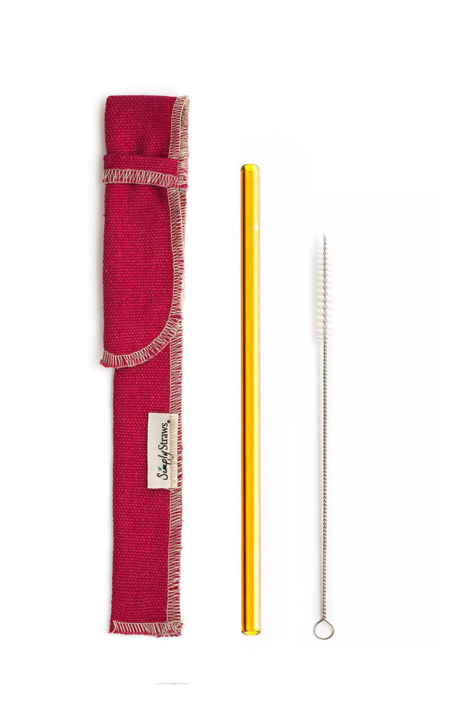 Single Classic Straw and Brush Set with a Sleeve (lots of colors) - Give Back Goods
