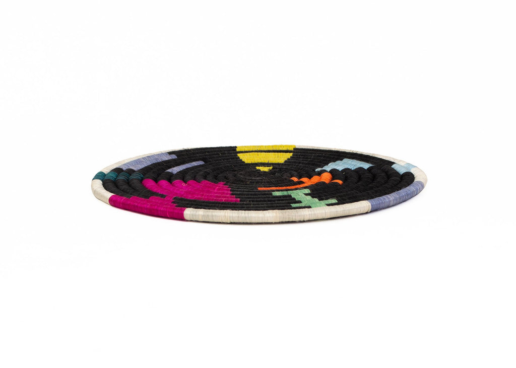 "10""  Hand Woven Black & Brightly Colored Hot Pad Trivet, Fair Trade, Rwanda"