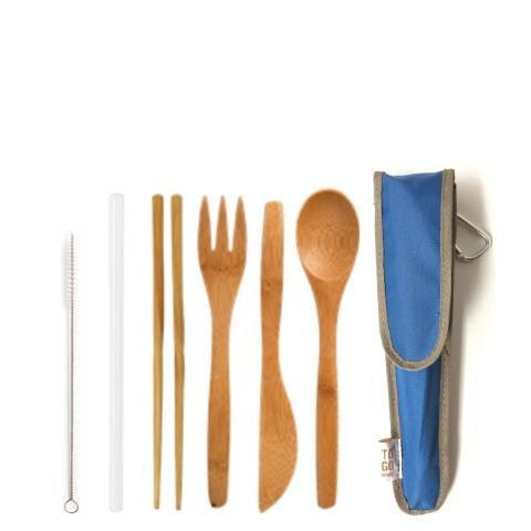 Re-useable Bamboo Utensil Kit & Glass Straw - Eco-Friendly, Save Our Oceans & Landfills - Give Back Goods