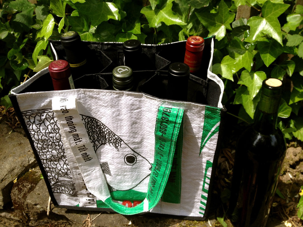 Upcycled 6-Bottle Wine Tote