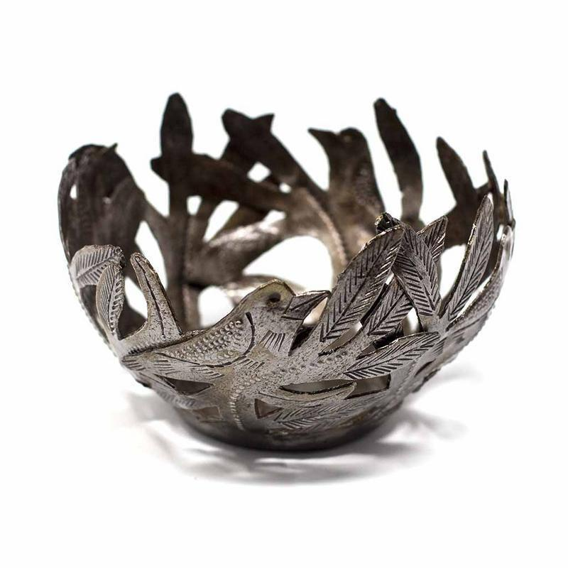 Handcrafted Decorative Metal Bowl with Birds from Haiti, Made from repurposed steel drums, Fairtrade