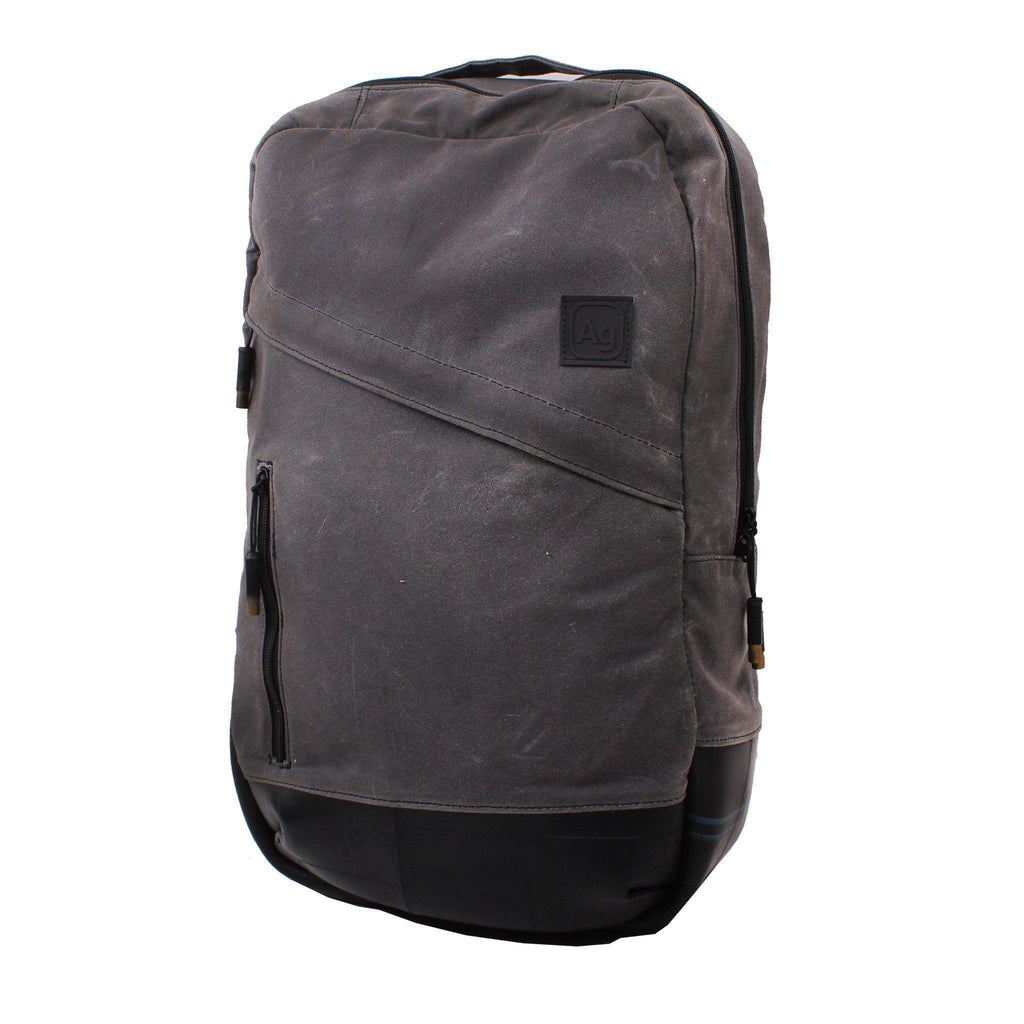 Waxed Canvas  Backpack- Made in the USA from upcycled Bicycle inner tubes- Saves Landfill Space!