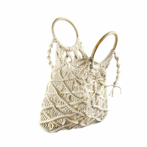 Macrame Purse with Wooden Handle, Fairtrade