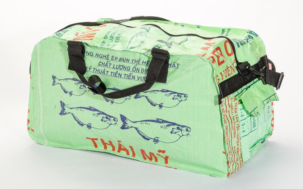 Medium Duffel Bag, repurposed Feed Bag,  Saves Landfill Space! - Give Back Goods