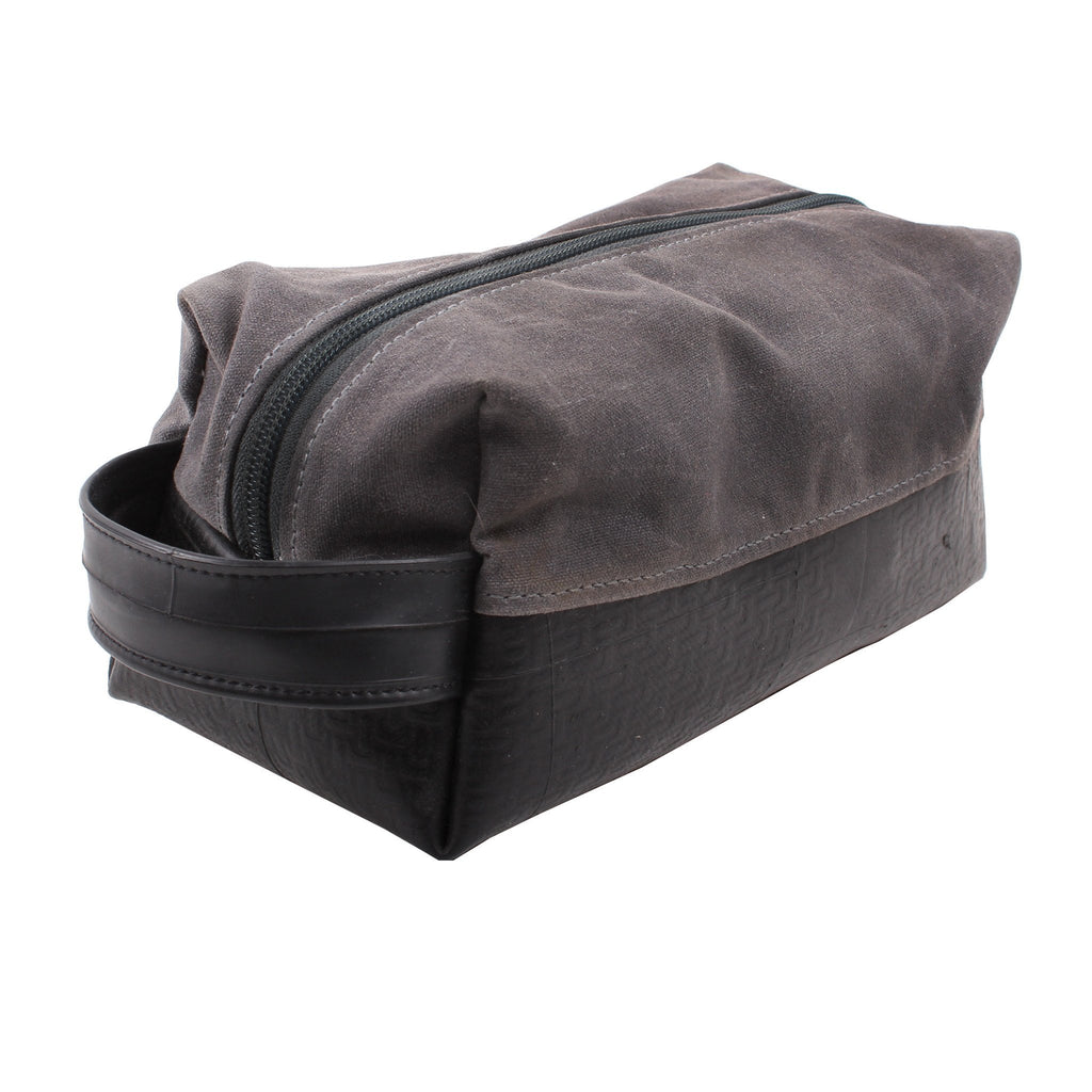 Large Waxed Canvas Upcycled Dopp Travel Kit - Made in the USA - Saves Landfill Space!
