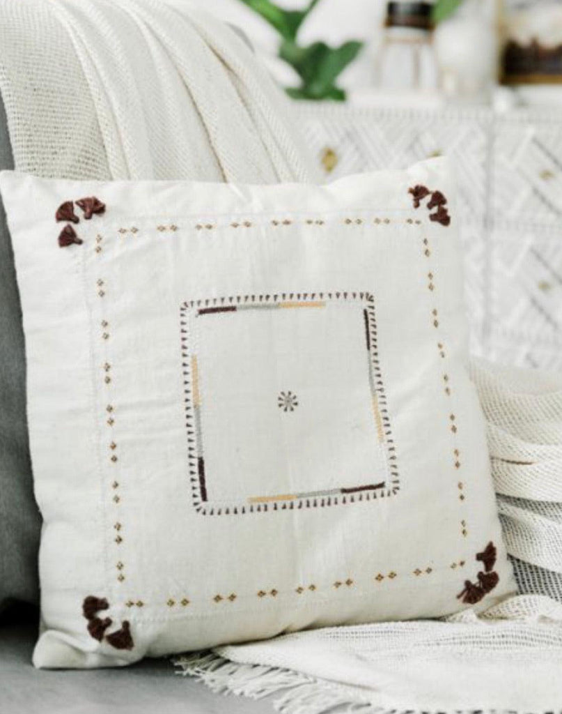 Hand loomed Organic cotton embroidered Pillow, Eco-Friendly, Fair Trade