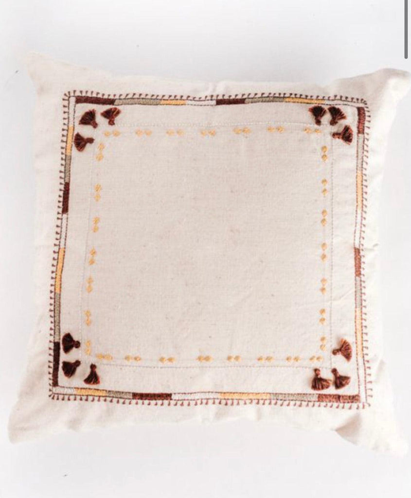 Copy of Hand loomed Organic cotton embroidered Pillow, Eco-Friendly, Fair Trade