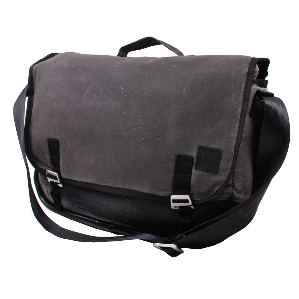Upcycled Messenger Bag- Waxed Canvas/Bicycle inner tubes-Made in USA- Saves Landfill Space!