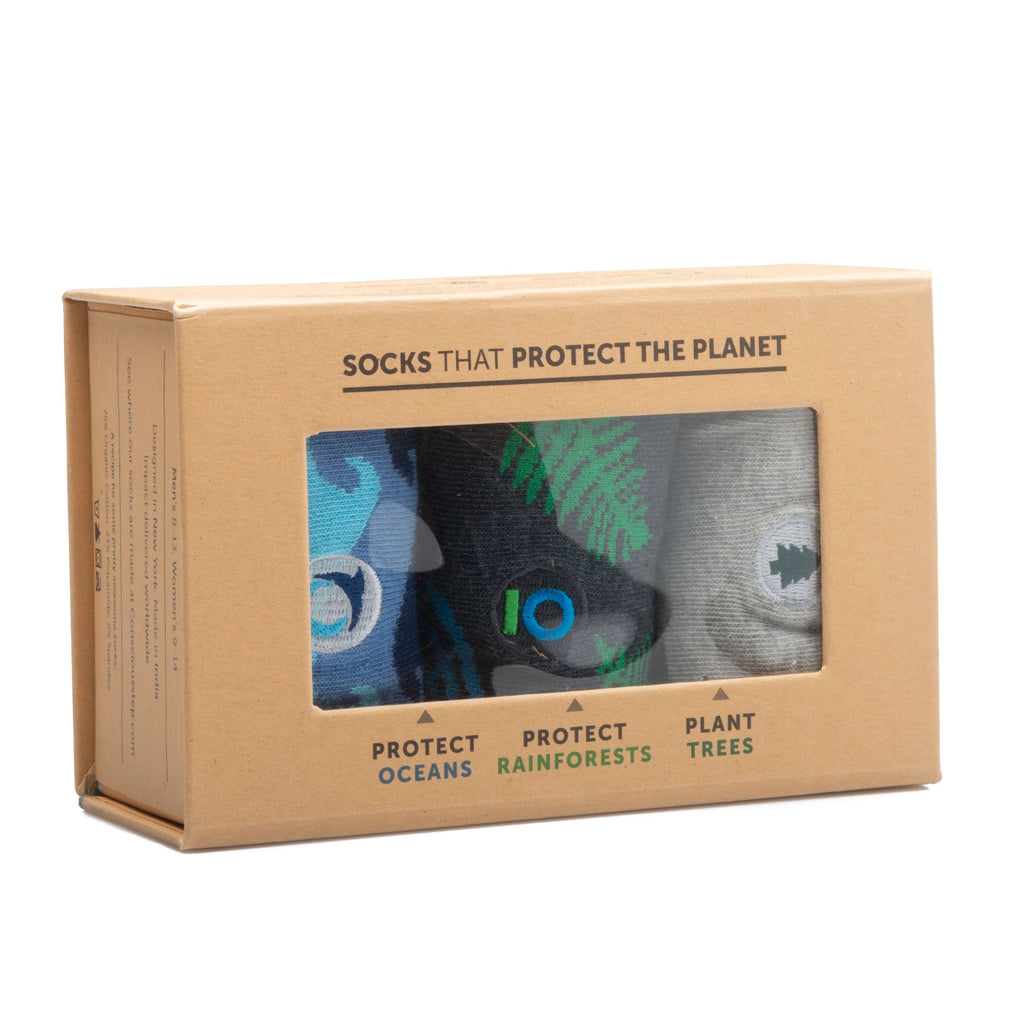 Socks Protect the Planet Gift Box: Protect Oceans, Protect Rainforests, Plant Trees