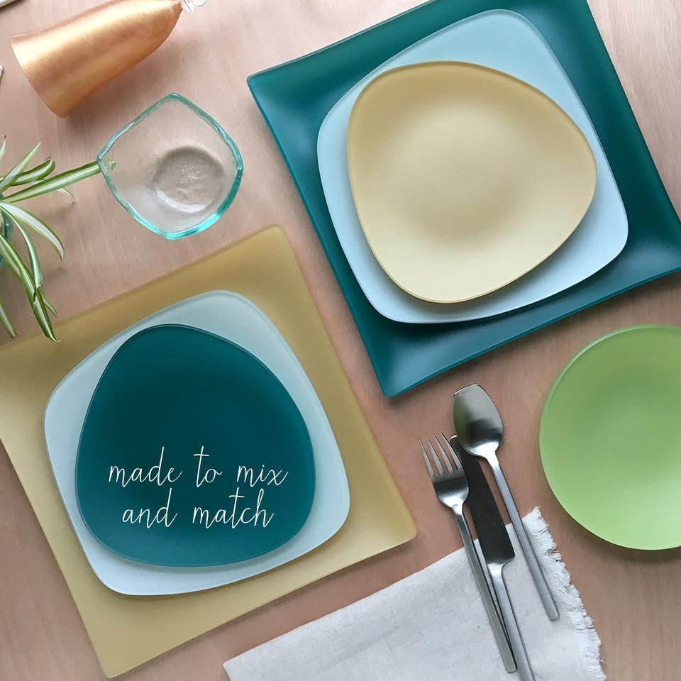 3 Piece SeaGlass Place setting-Recycled Glass, Made in USA, Lead and Cadmium Free- Eco-Friendly - Give Back Goods