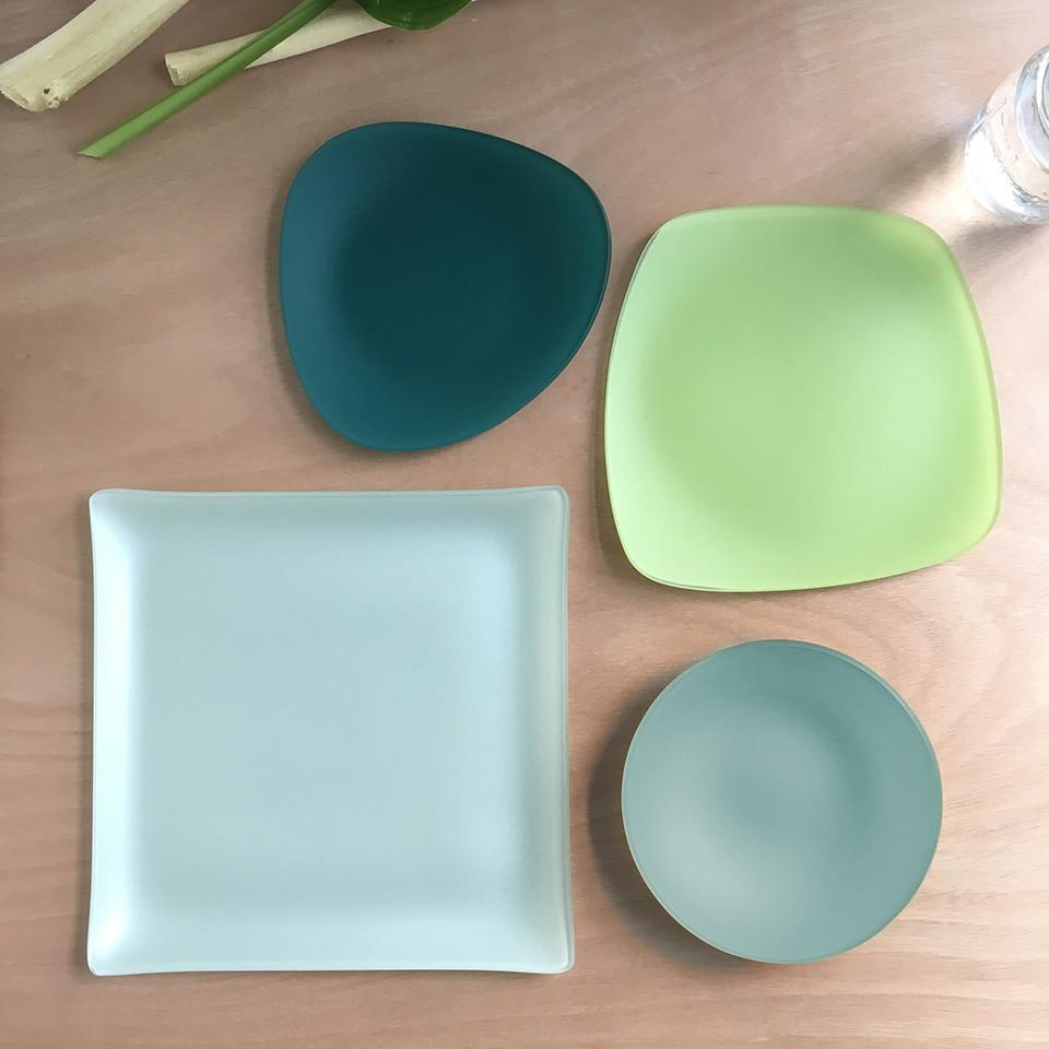 Set of 3- Recycled SeaGlass Place Setting- Spring Collection- Made in the USA- Lead and Cadmium Free - Give Back Goods