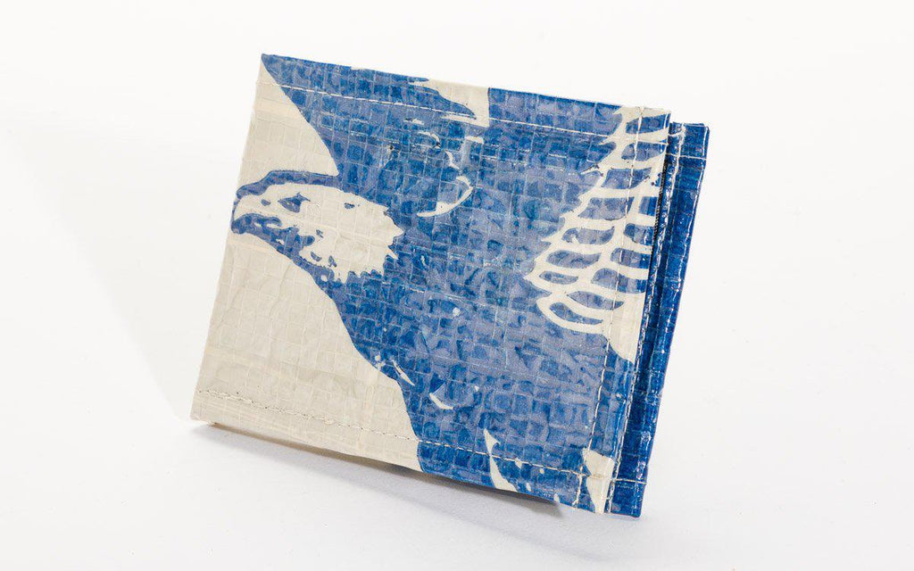 Upcycled  Bi-fold mini Mens Wallet, (Eagle, Camel Cement), Fosters Sustainable Communities