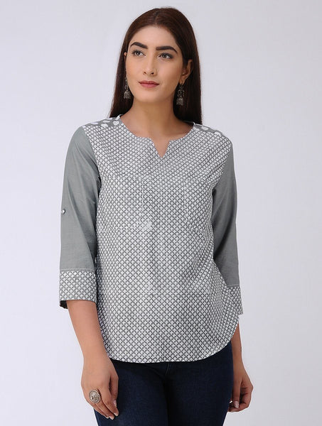 Arrow shirt-Grey Shirt The Neem Tree Sonal Kabra Buy Shop online premium luxury fashion clothing natural fabrics sustainable organic hand made handcrafted artisans craftsmen